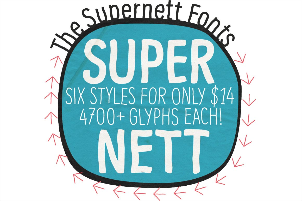 Supernett Family: 6 Hand-Drawn, Sans-Serif Fonts - only $14!