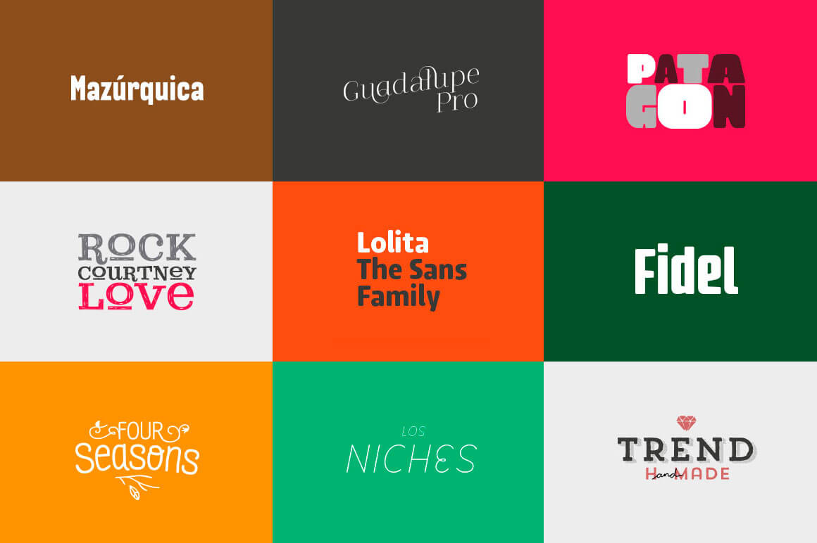 Latinotype Pack of 9 Fabulous Font Families - only $37!