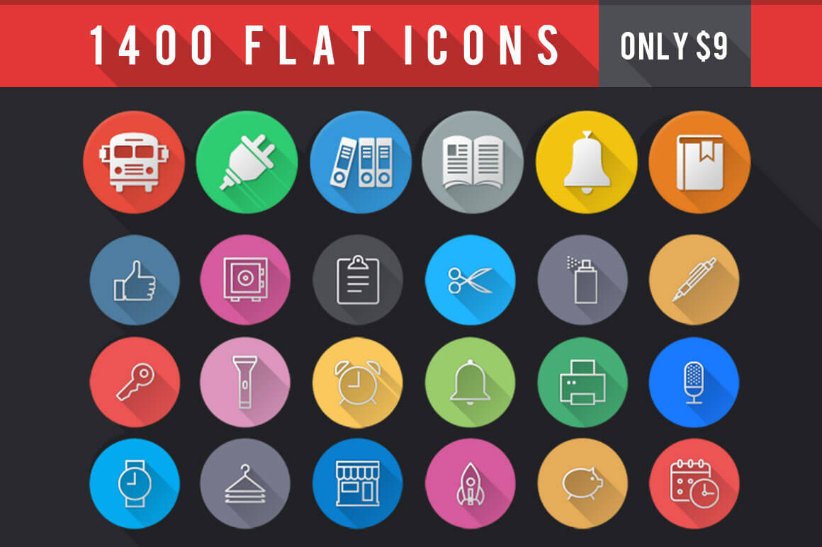 1400+ Flat Icons Bundle for Designers and Developers - only $9!