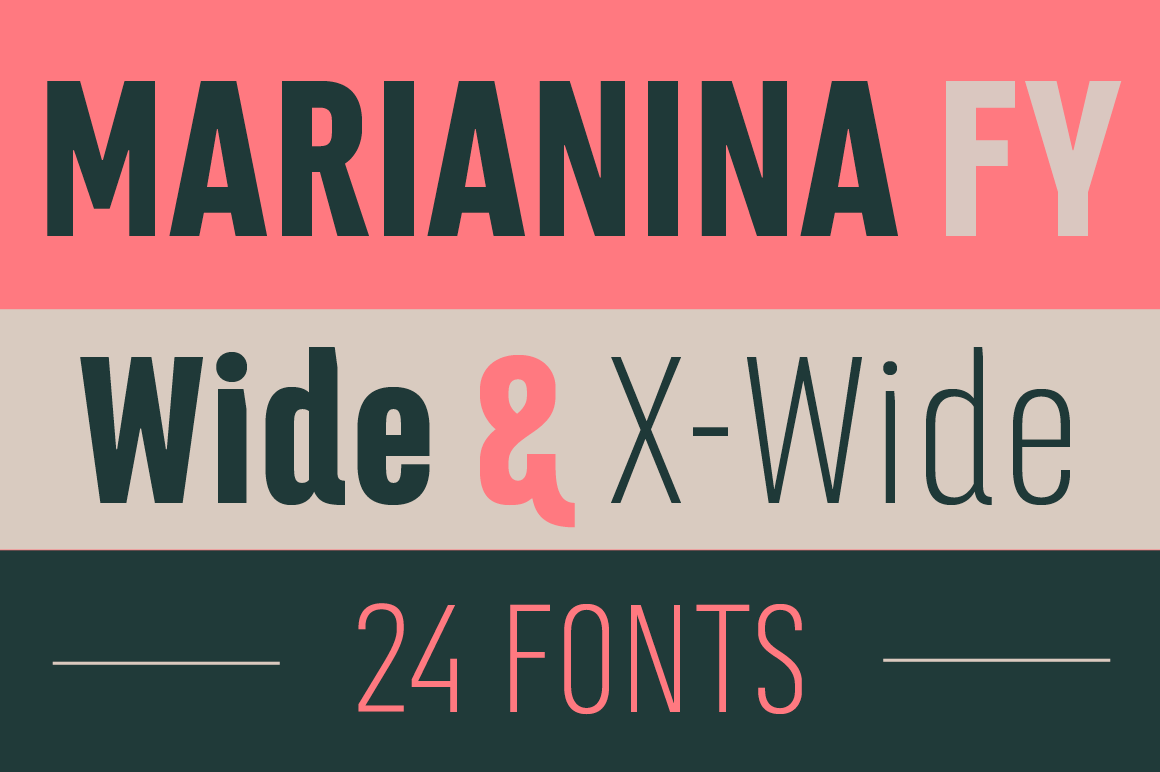 Marianina Extended Font Family (24 Fonts)