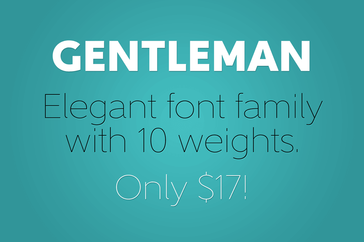 Elegant Gentleman Font Family with 10 Weights - only $17!