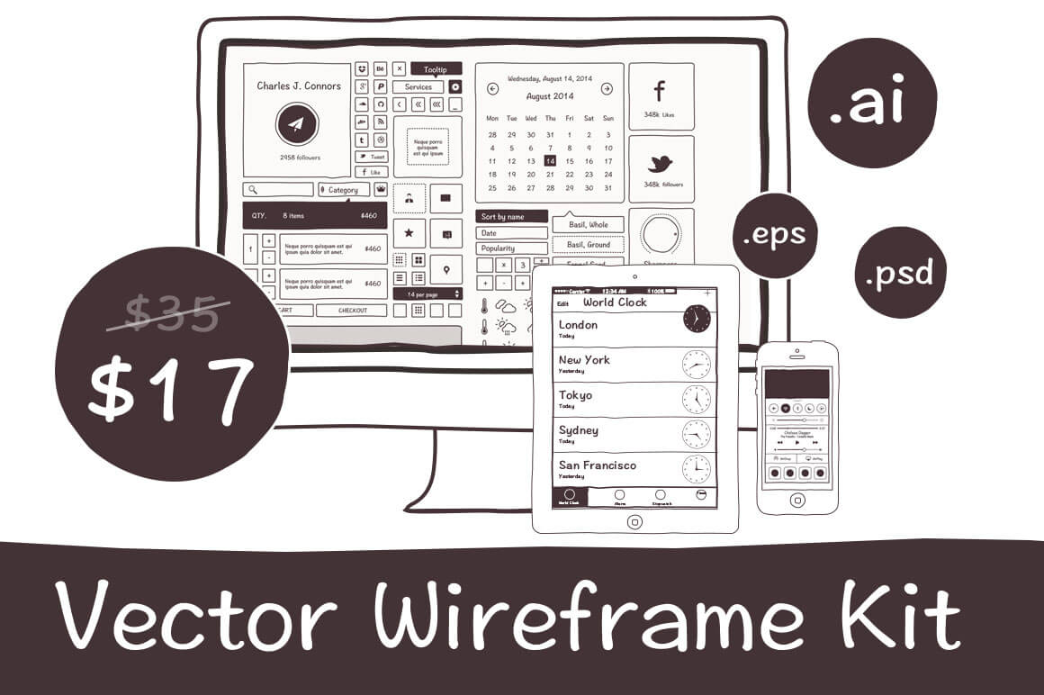 Handdrawn Vector Wireframe Kit  for Mobile and Web Apps - only $17!