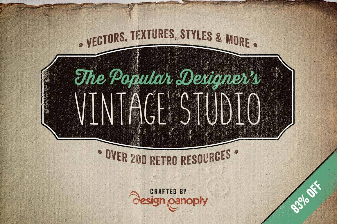 Designer's Vintage Studio: Over 200+ Retro Resources - only $27!