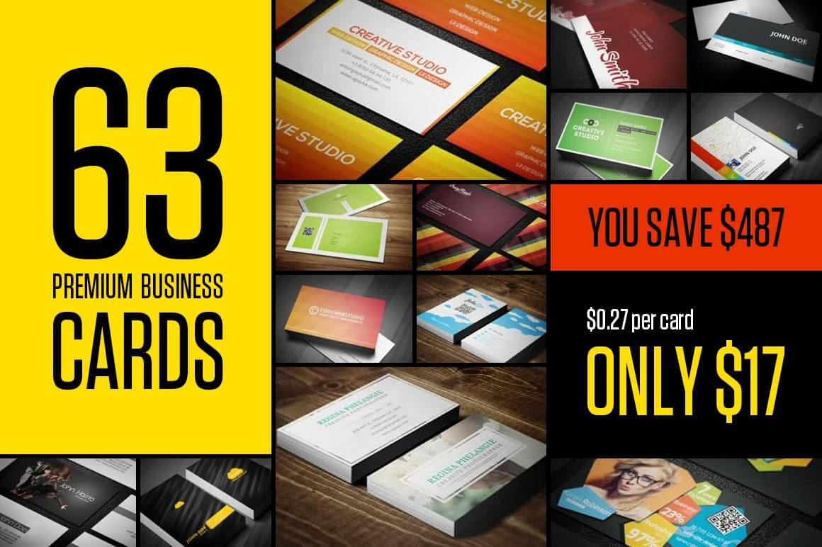 BUNDLE: 63 Premium Business Card Templates - only $17!