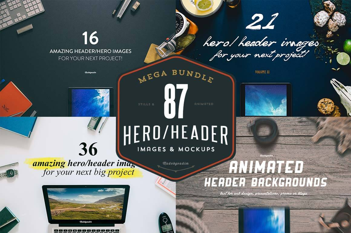 Mega Bundle of 80+ Hero/Header Images - only $14!