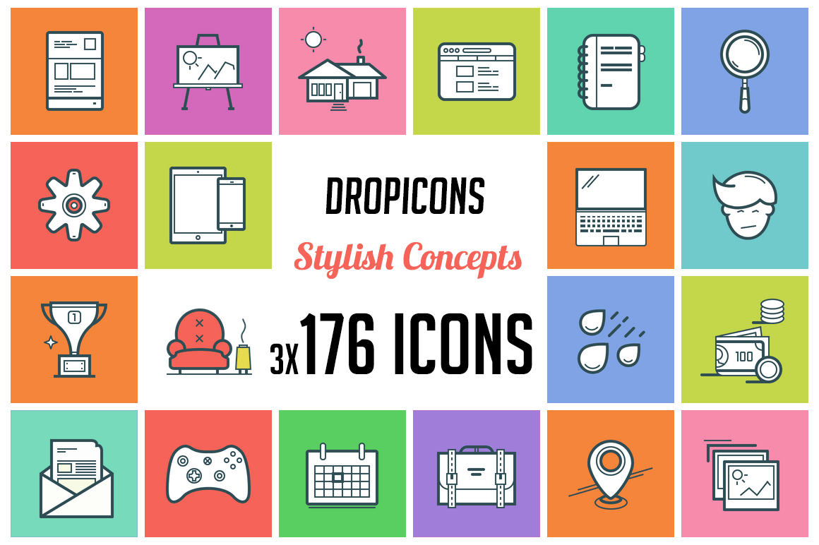 Dropicons: Flat Line Stylish Illustration Icons - only $25!