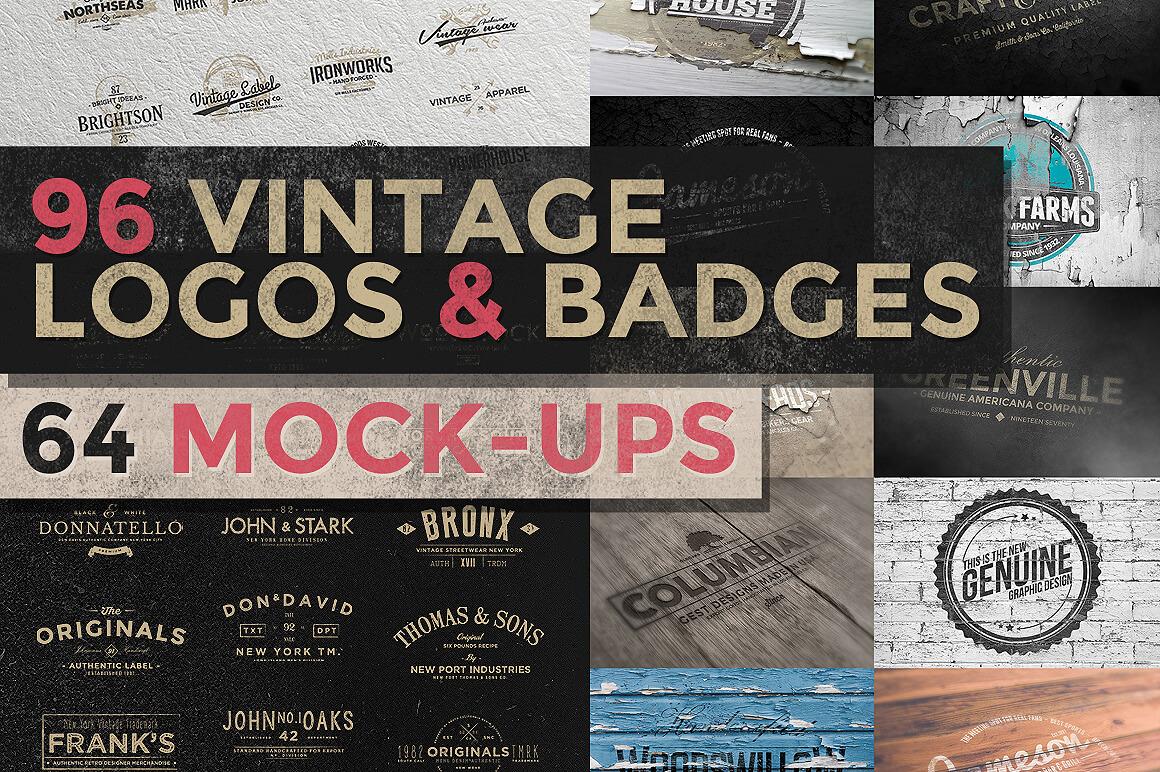 150+ Vintage Logos and Photo Mock-Ups Bundle - only $16!