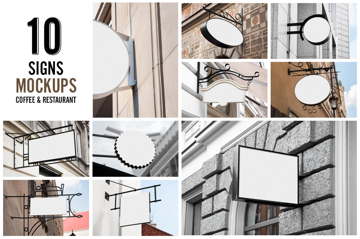 10 Sign Mockups for Restaurants and Coffee Shops - only $8!