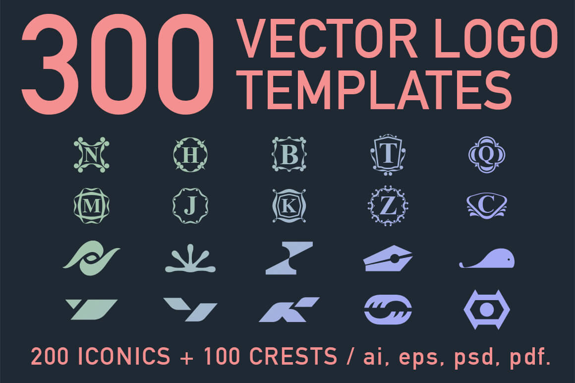 300 Professional Vector Logo Templates - only $27!