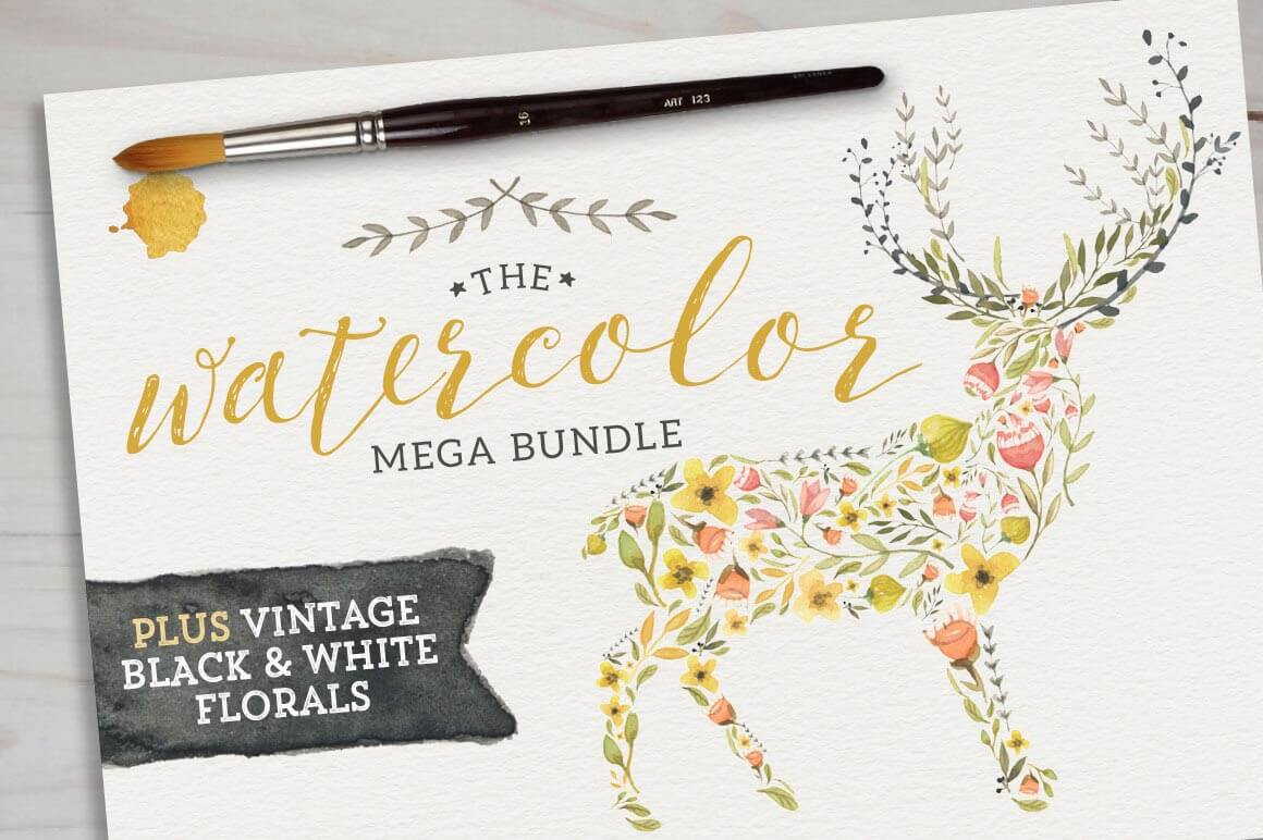 195 Breathtaking Watercolor & Vintage Floral Elements - only $27!