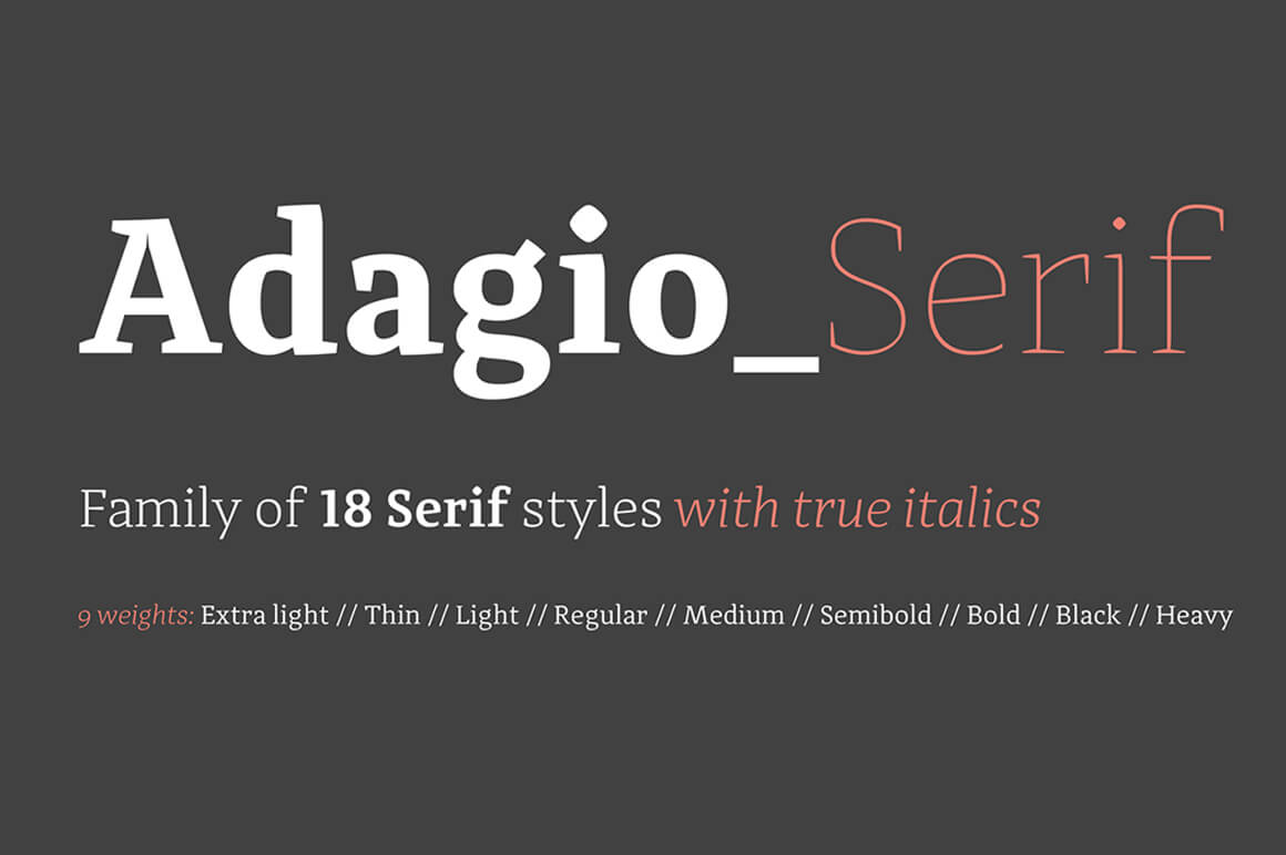 Adagio Serif Family (18 Modern Fonts) - only $17!