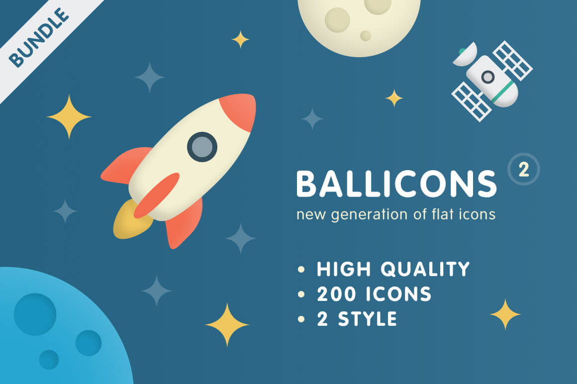 200 Unique Flat Vector Icons from Ballicons 2 - only $14!