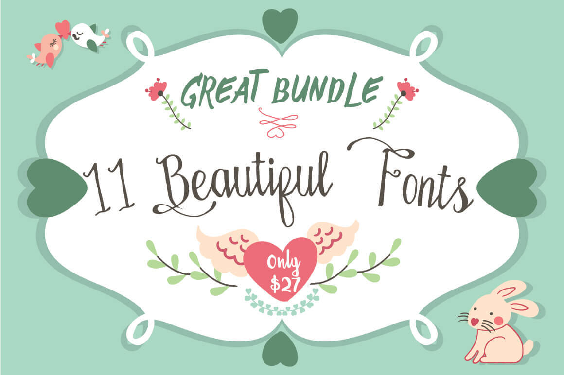 Get a Gorgeous Bundle of 11 Handmade Fonts - only $27!