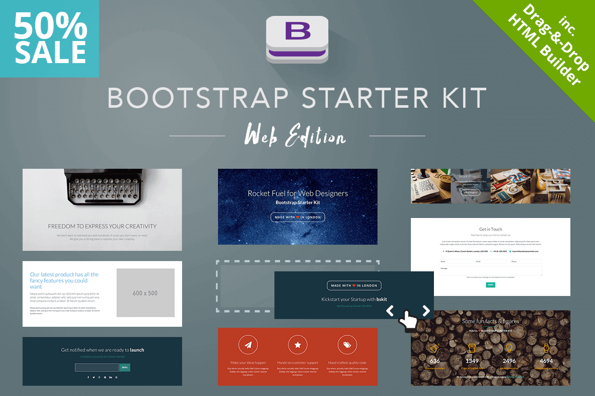 Build Unlimited Website Designs with the Bootstrap Starter Kit - only $14!