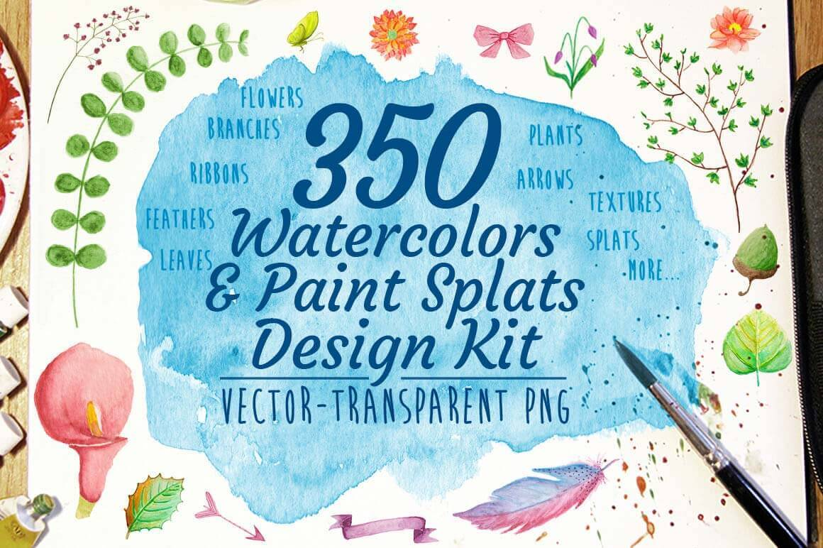 350+ Watercolors and Paint Splats Design Kit - only $12!