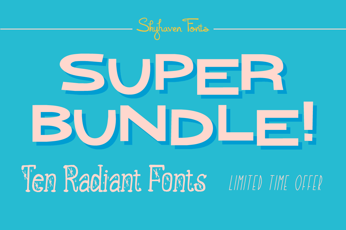 10 Retro Radiant Handmade Fonts from Skyhaven - only 17!