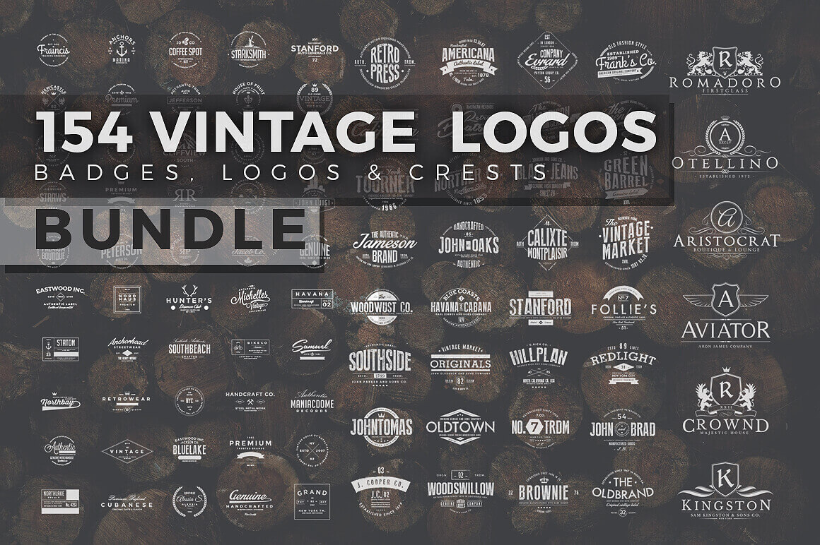 150+ Vintage Logos, Badges & Labels - only $10!