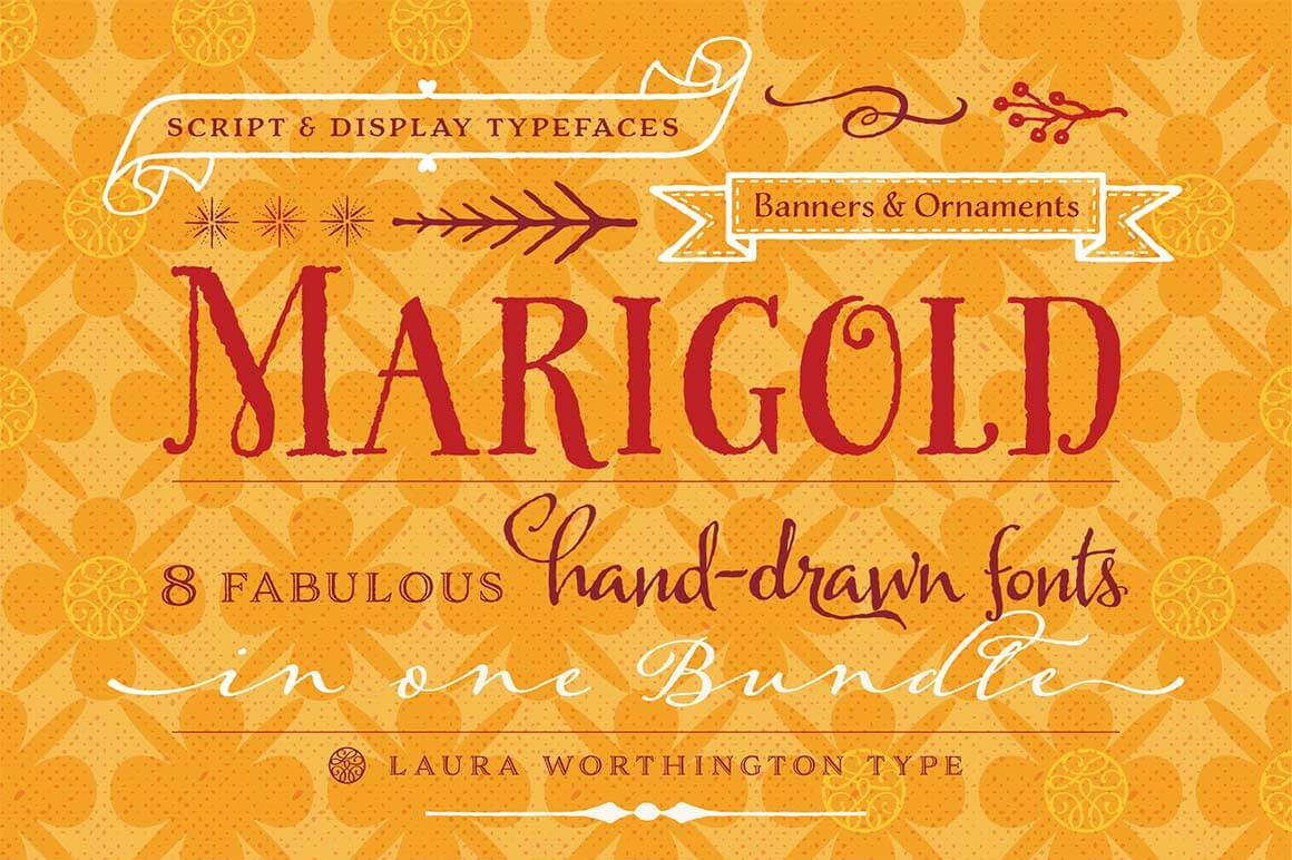 Marigold: Bundle of 8 Fabulous, Hand-drawn Fonts from Laura Worthington