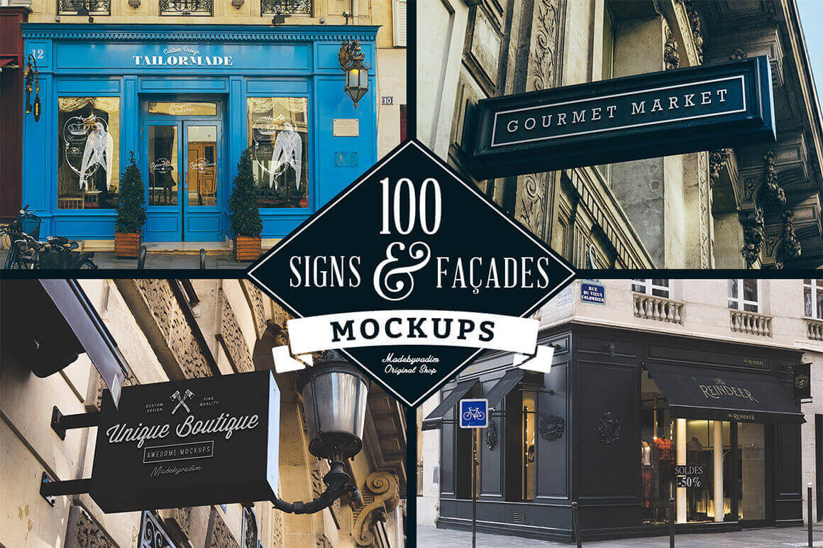 100 Realistic Signs and Facades Mockups - only $14!