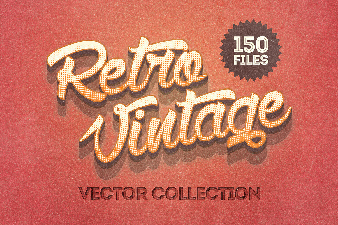 Going Retro! 150 Vintage Vector Illustrations - only $9!