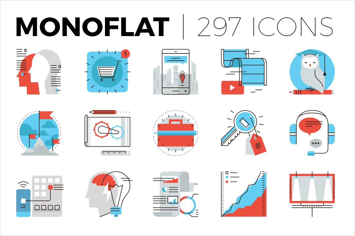 Monoflat Icons: 297 High Quality Color Icons - only $17!