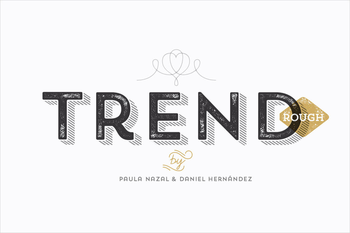 TREND ROUGH Font Family (includes 24 Fashionable Fonts) - only $19!