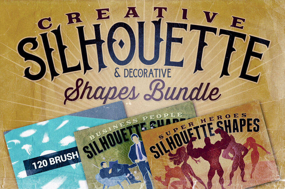 1400+ Creative Silhouette & Decorative Shapes Bundle - only $21!