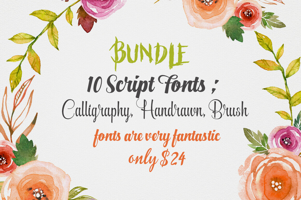 10 Modern, Hand Drawn Calligraphy Script Fonts - only $24!