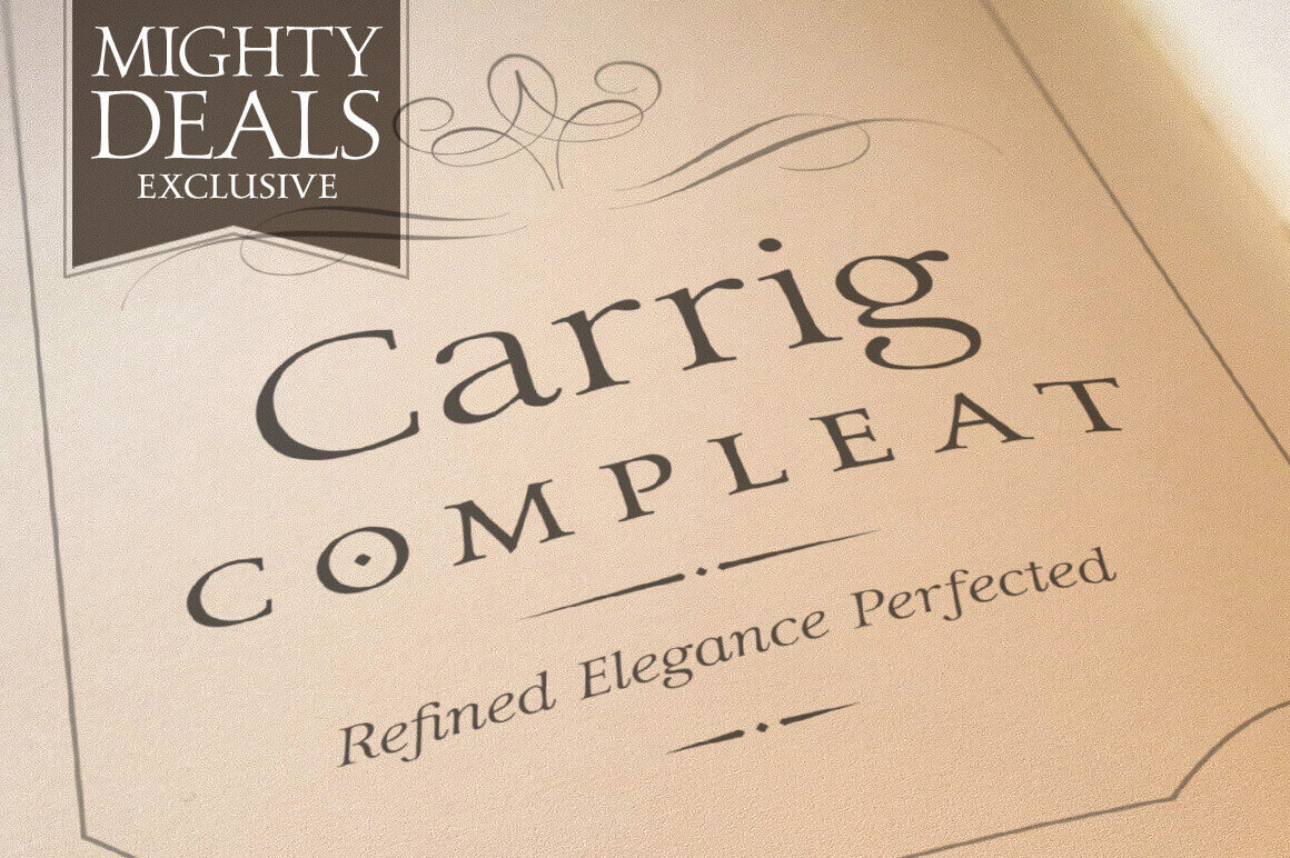 Carrig Compleat Font Family of 9 Desktop Fonts & Webfonts - only $17!