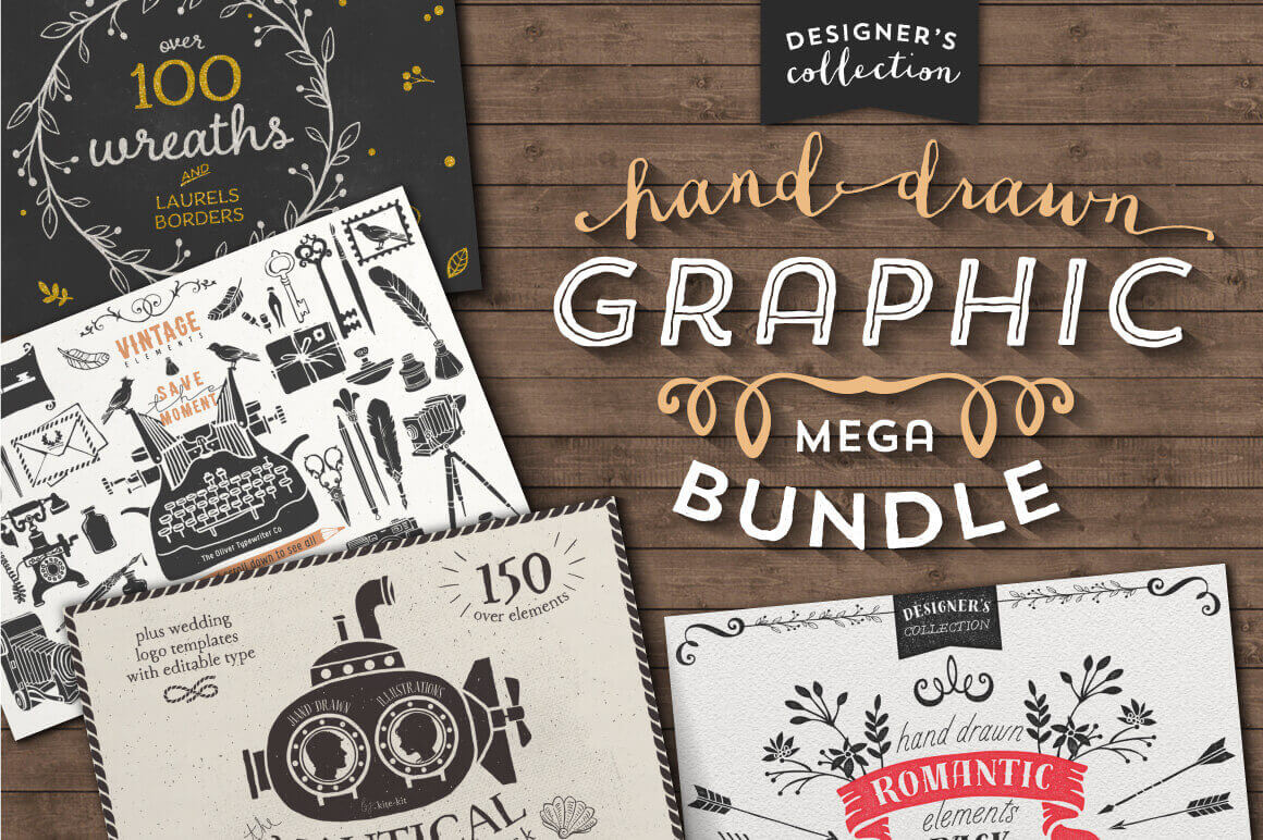 Mega Bundle of 700+ Hand-Drawn Graphic Elements - only $24!