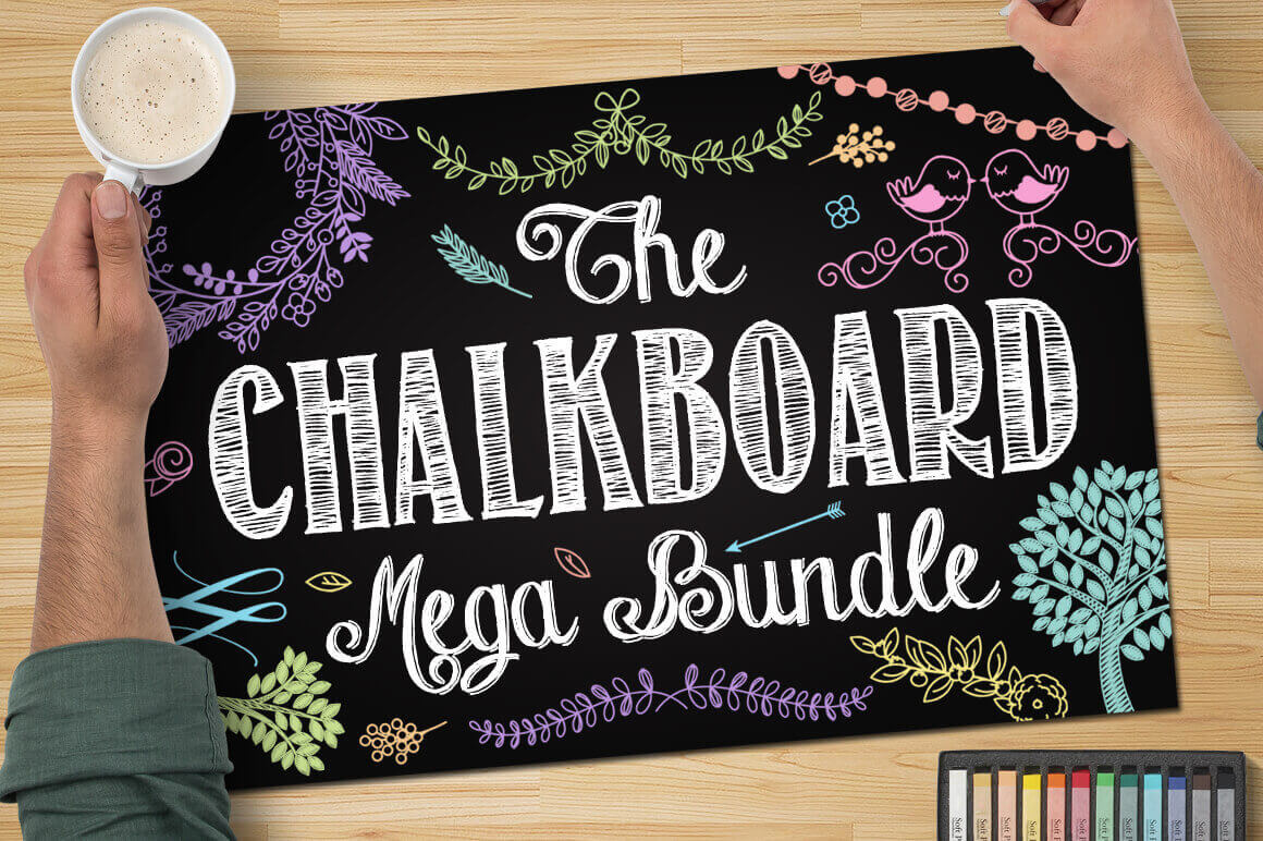 200+ Premium Vector Chalkboard Elements from Pink Pueblo - only $24!