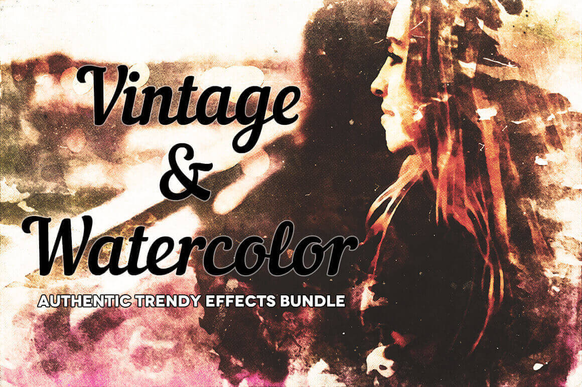 300+ Professional, Hi-Res Watercolor & Vintage Photoshop Effects - only $17!