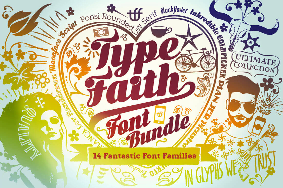 Mega Bundle: 14 Font Families from TypeFaith - only $24!