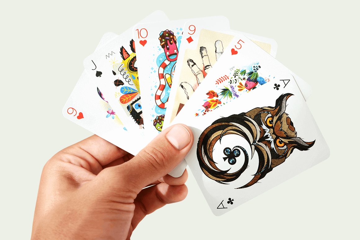 Beautiful Full-Color Deck of Playing Cards Illustrated by 55 Artists - only $12!