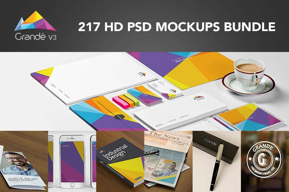 GRANDÉ BUNDLE v3: 217 PSD Mockups Bundle - only $27!