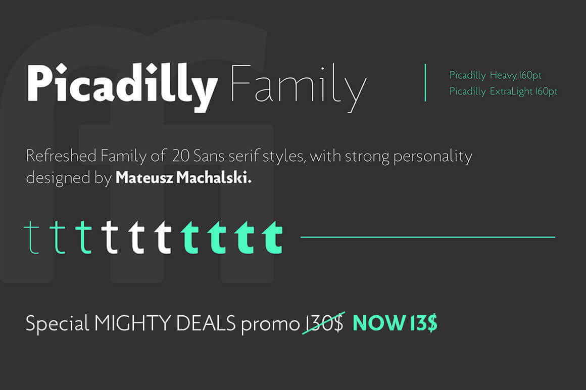 Piccadilly Font Family of 20 Modern Typefaces - only $12!
