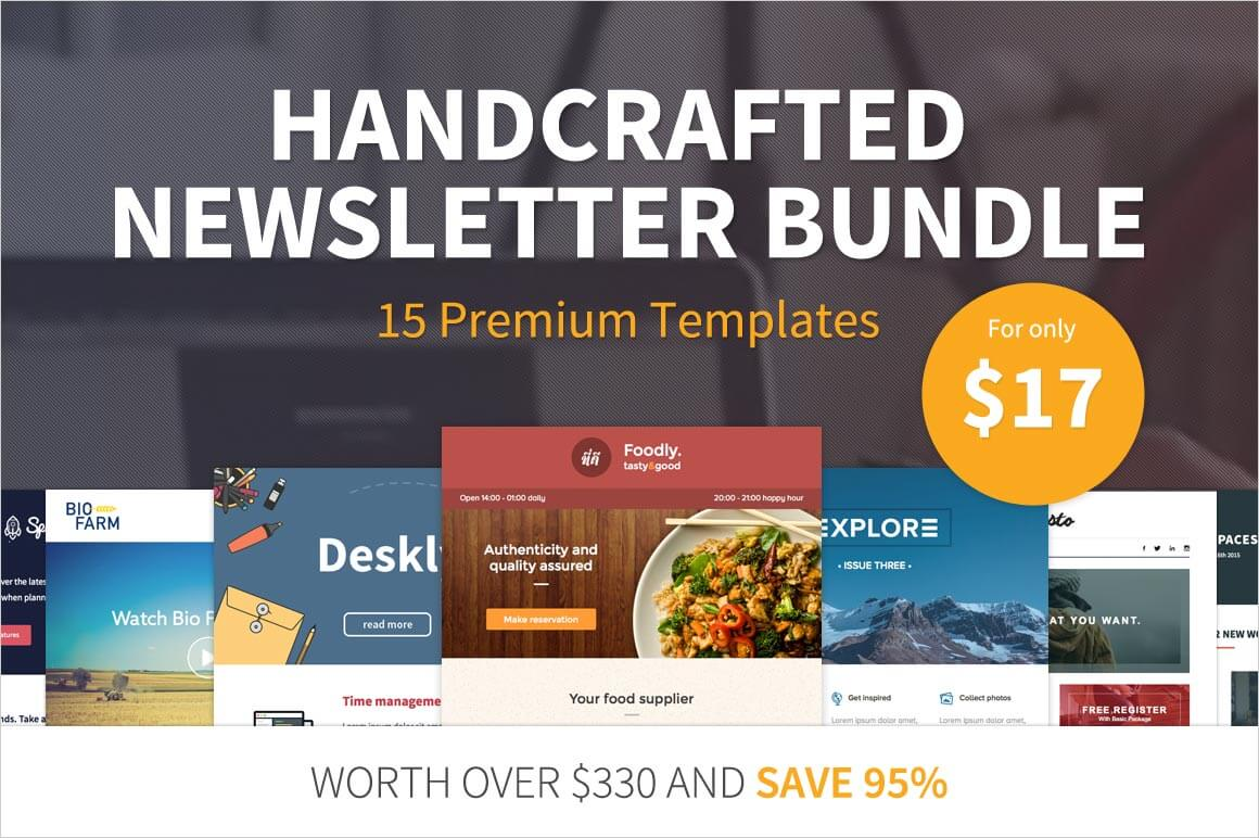 Bundle: A Handcrafted Newsletter Bundle of 15 Premium Templates - only $17!