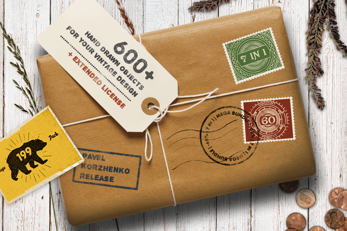 Vintage Design: 600+ Retro Vector Illustrations and Objects - only $17!