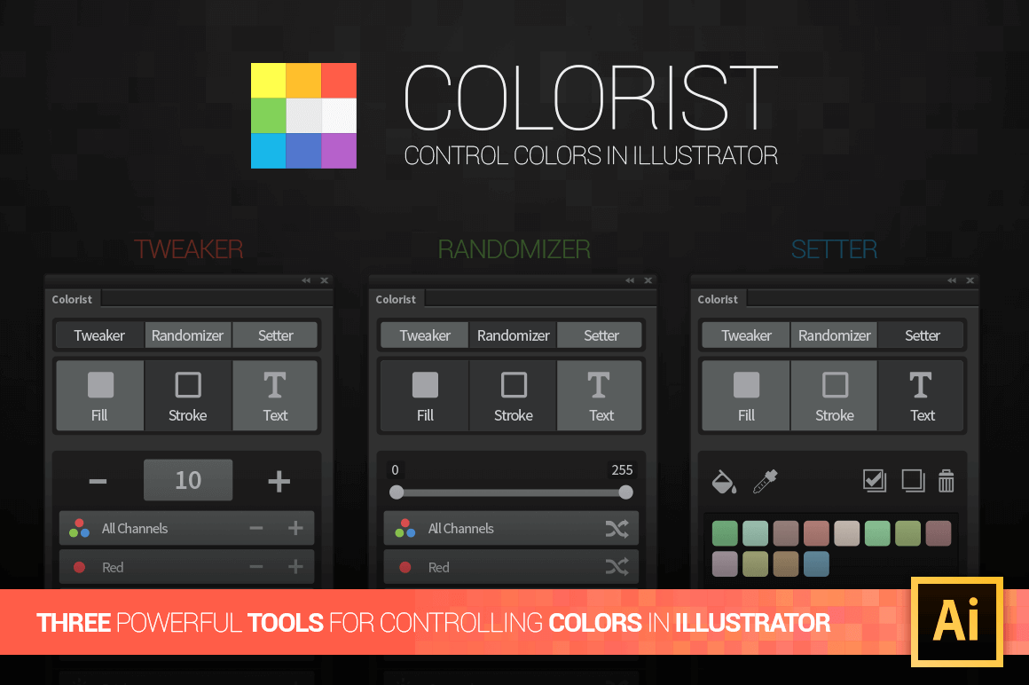 The Colorist Add-On, a 3-in-1 Color Editing Tool for Adobe Illustrator - only $4!