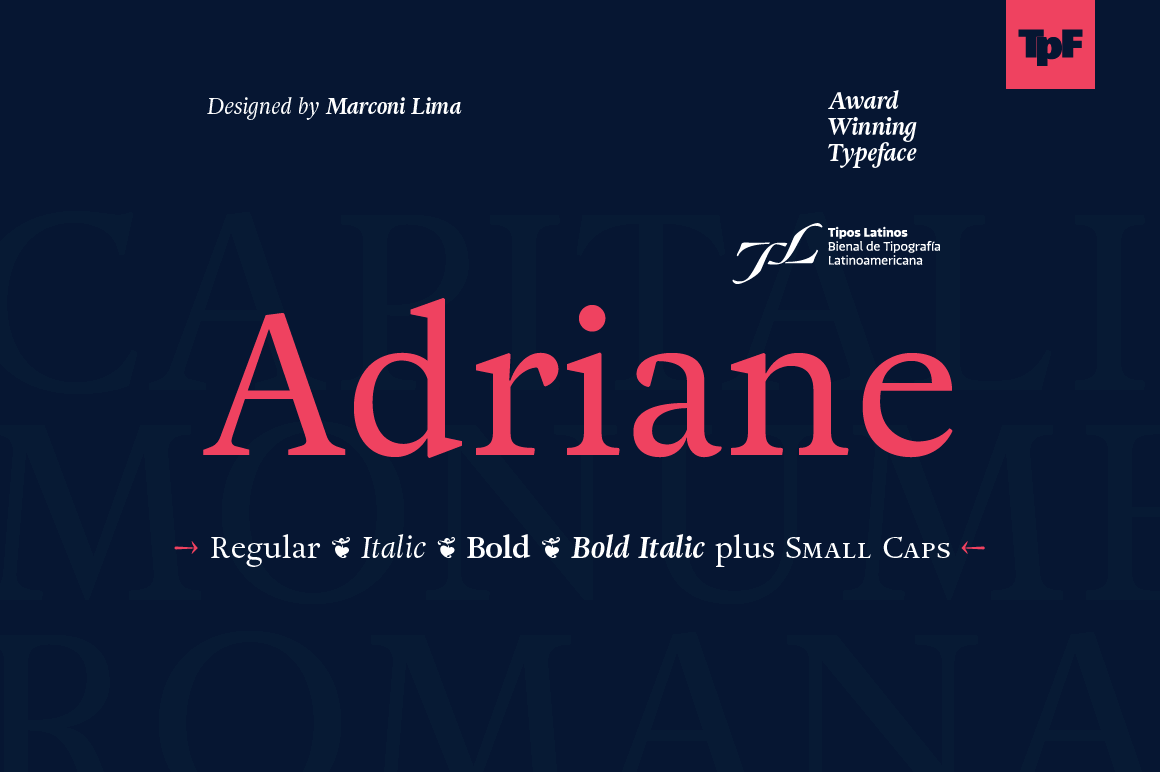 Adriane Font Family: An Award-Winning Font by Marconi Lima - $15!