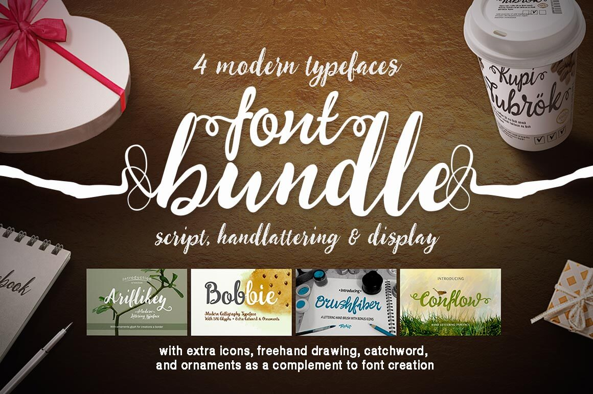 Get 4 Fantastic Script Fonts from Tooris Studio - only $9!