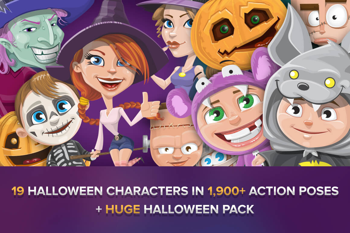 19 Halloween Characters in 1900+ poses  - only $24!