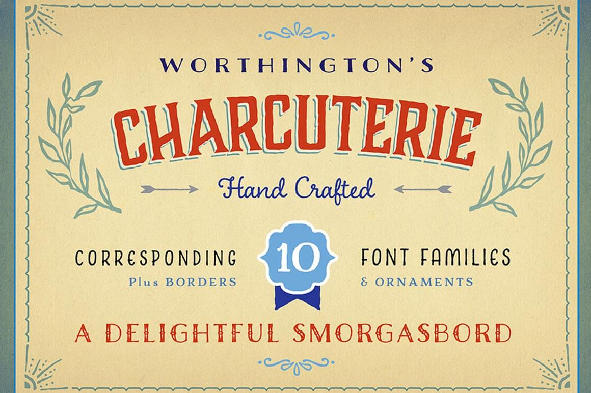 Laura Worthington's Award Winning Charcuterie Font Family (22 fonts) - only $19!