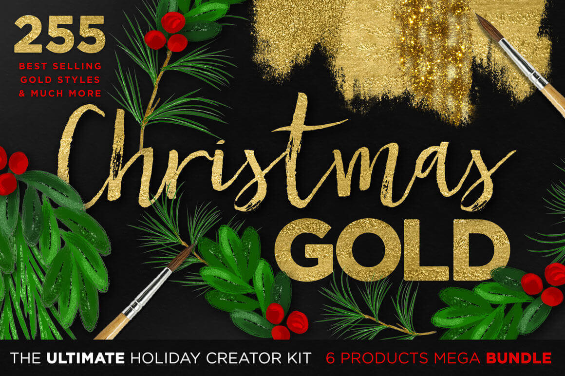 Christmas Gold: The Ultimate Holiday Creator Kit (255 Gold & Glam Styles) - only $17!
