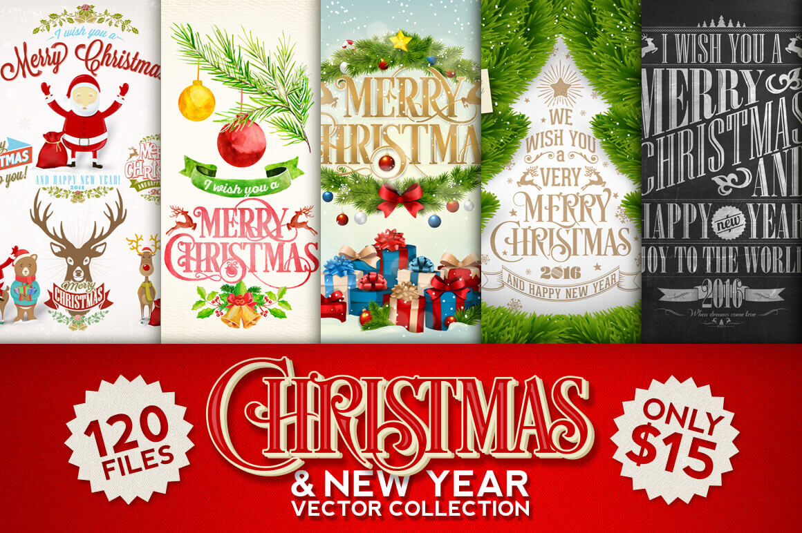 100+ Premium Christmas and New Year Vectors - only $15!