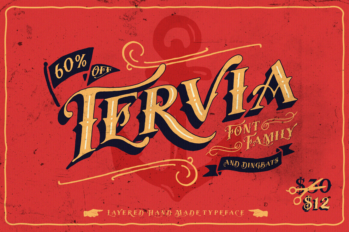 Classic Meets Fun with the Tervia Font Family - only $12!