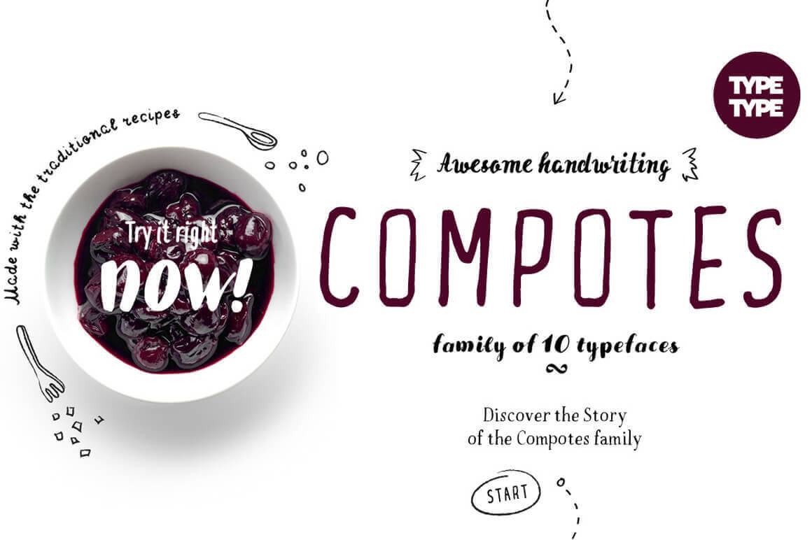 A tasty deal: Compotes Font Family of 10 Typefaces- only $9!