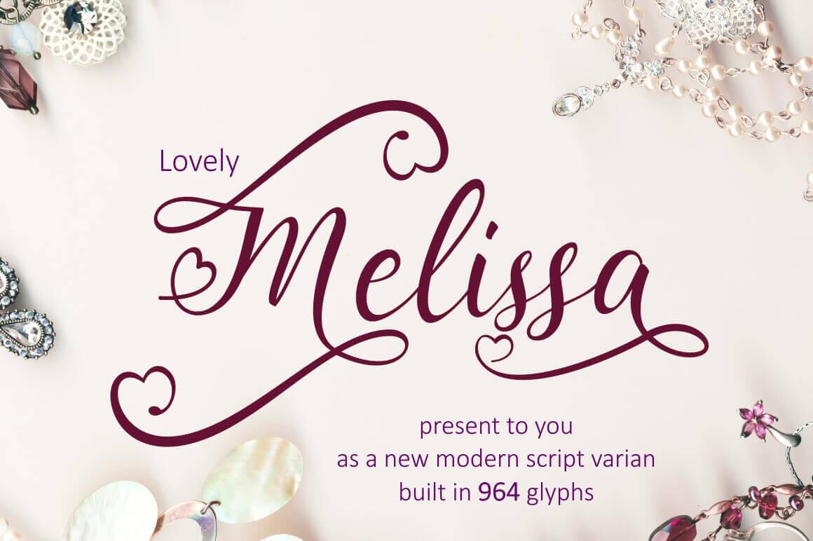 Lovely Melissa, a Modern Script Font Including 964 glyphs - only $7!