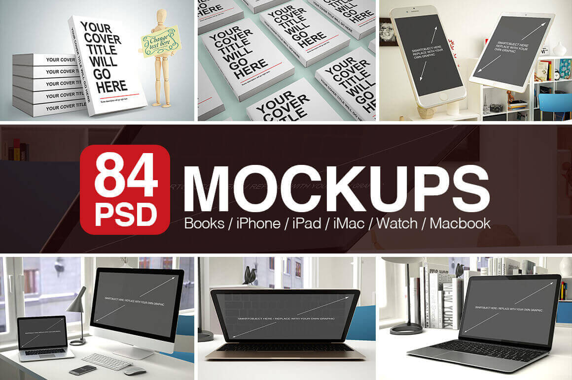 84 PSD Mockups for Book Covers and Apple Products from iPhone to Macbooks - only $27!