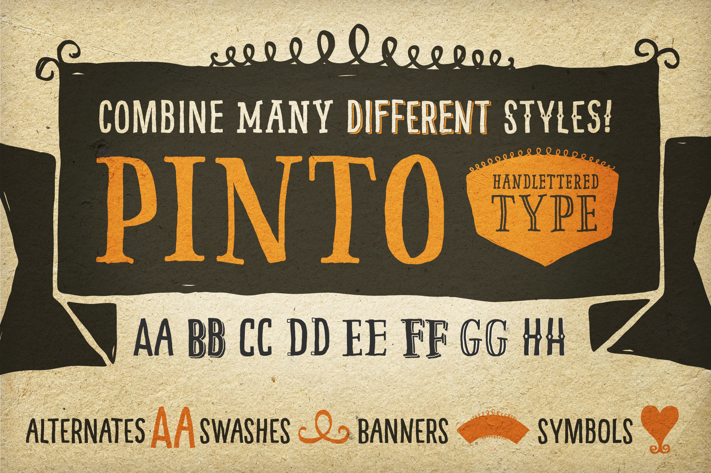 Pinto Font: A Gorgeous Family of 14 Hand Drawn Fonts - only $9!